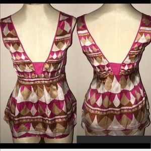 DIANE VON FURSTENBERG Pink Tan Silk top 0